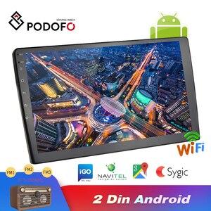 Image 1 - Podofo Android 2din araba radyo ses Stereo araba Autoradio GPS navigasyon Bluetooth WIFI Mirrorlink MP5 çalar radyo araba Autoradio