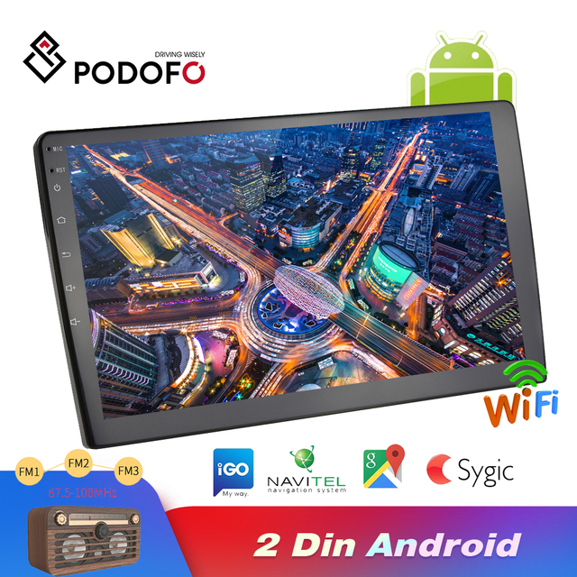Podofo Android 2din araba radyo ses Stereo araba Autoradio GPS navigasyon Bluetooth WIFI Mirrorlink MP5 çalar radyo araba Autoradio