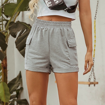 2020 New Pockets Cotton Shorts Summer Grey Loose Wide Legs Shorts Elastic High Waist Casual Female Home Comfy Shorts danjeaner 2017 summer casual loose cotton high waist shorts youth solid slim drawstring elastic waist shorts women shorts mujer