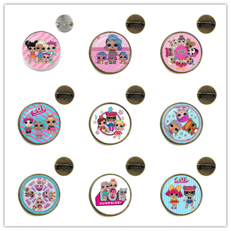 Classic Cartoon Characters Brooches 20mm Glass Cabochon Collar Pins Jewelry Kawaii Gift For Women Girls Kids Birthday