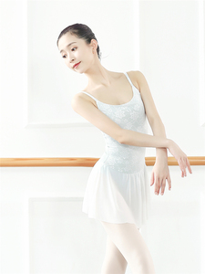 Image 2 - Lace Embroidered Gymnastic Leotard Adult Female Dance Body Basic Ballet Training Leotards with Skirts Professional Tutu