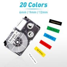 XR-12WE XR-9WE XR12X XR9X 6/9/12mm Compatible Casio Label Tape XR-12YW XR6WE for Casio Label Printer KL-60 KL-120 KL-100 KL-820