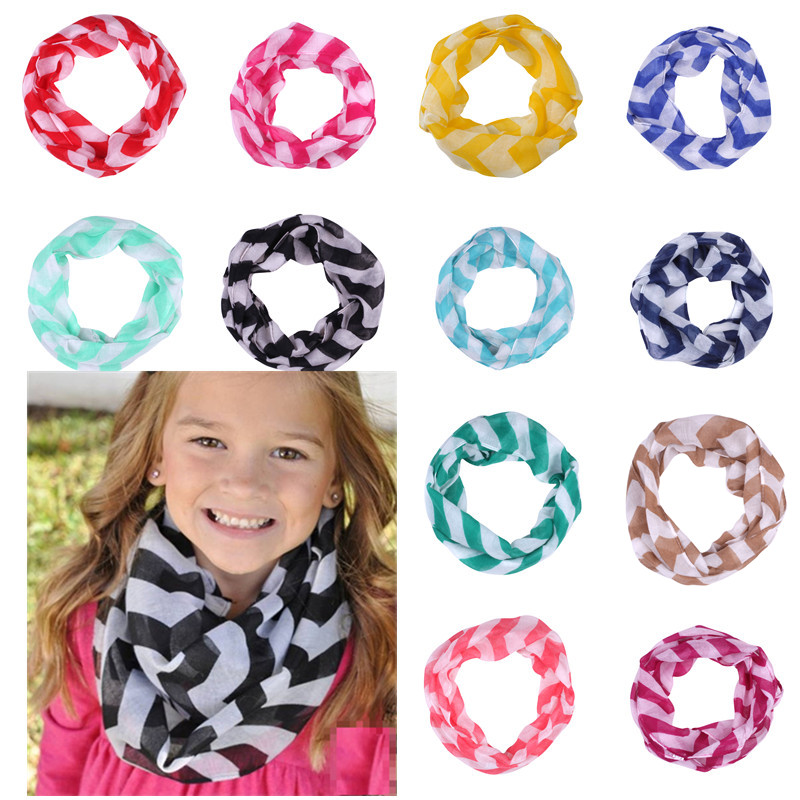16 Colors Chevron Wave Print Infinity Scarf Summer Spring Girls Loop Kids Ring Scarves Baby Accessories Children's Snood