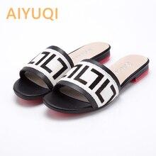 AIYUQI נשים כפכפים 2020 חדש קיץ עור אמיתי שטוח נשים שקופיות אנגורה מקרית חיצוני נעלי נשים נעליים
