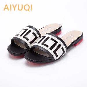 Image 1 - AIYUQI Women Slippers 2020 New summer Genuine Leather Flat Women slides  Mohair Casual Outdoor Slippers Women shoes