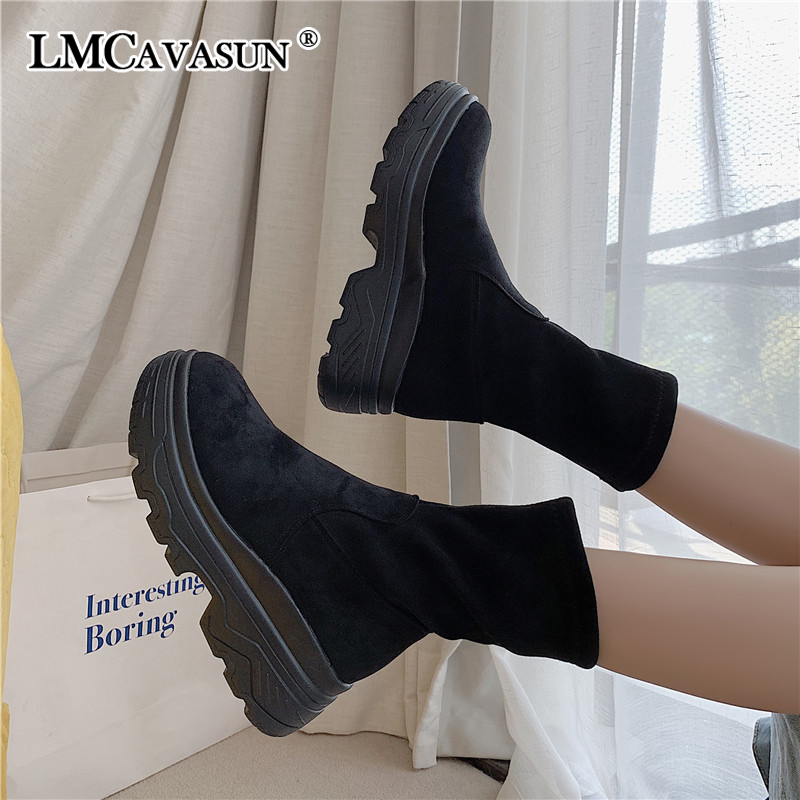 LMCAVASUN Platform Ankle Boots Shoes Woman Suede Equestrian Winter Thick Sole Lace-up Women Shoes Waterproof Martin Boot