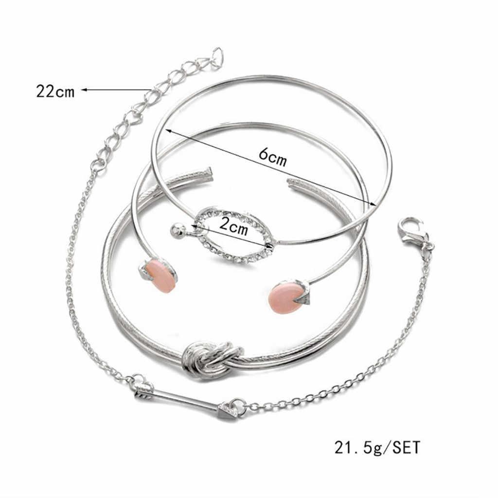 OTOKY 4 ชิ้น Simple สร้อยข้อมือผู้หญิงเครื่องประดับหญิงบุคลิกภาพ Knotted แหวนวงกลมสร้อยข้อมือเครื่องประดับ 2020