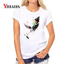 Women T-shirt Colorful Feather Graphic Tee 3D Print T Shirt Fashion Casual Lady Vintage Slim Fit White T-shirts Unisex Tops