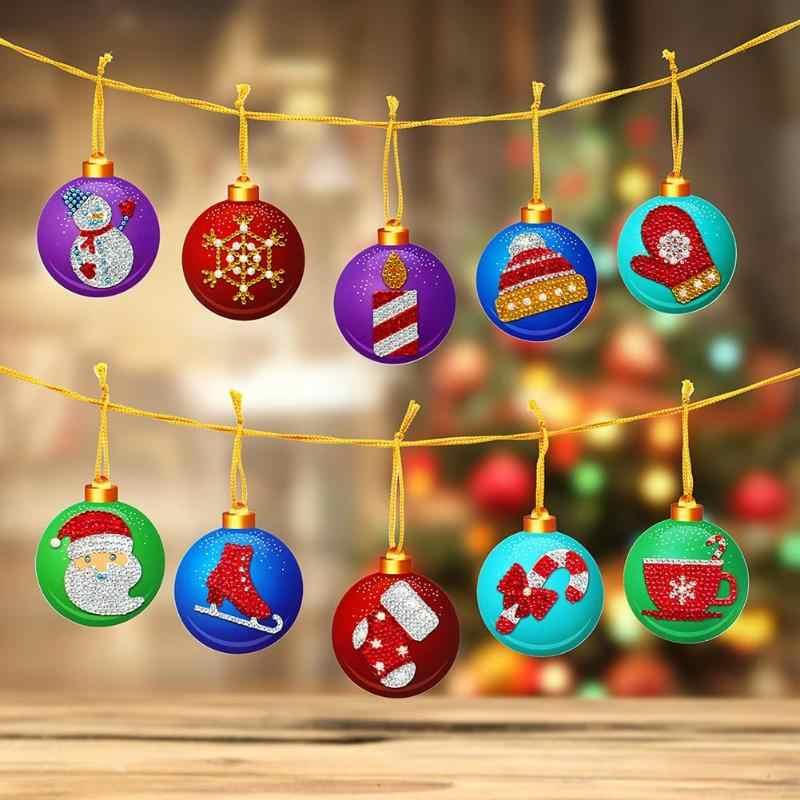 10pcs DIY Diamond Painting Merry Christmas Xmas Tree Hanging Pendant Ornament Christmas Decoration Natal Navided