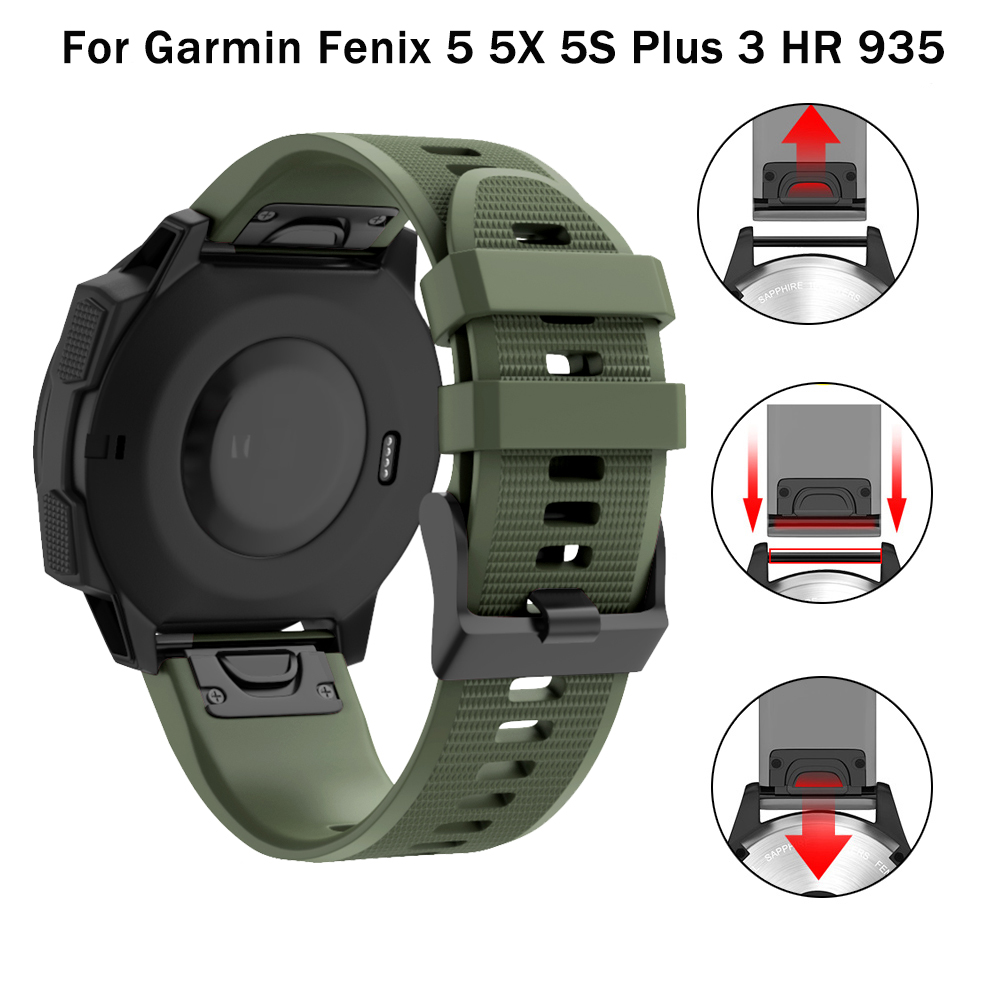 26 22 20MM Watchband Strap For Garmin Fenix 6X 6 5 6s 5S Plus 3 3HR  GPS Watch Quick Release Silicone Easyfit Wrist Band Strap