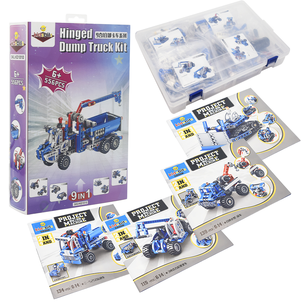 kidsbits 9 in1 Technology Assembled Building Blocks STEM Dump Truck Series Mining Machine Series Toys for Children Boy Gift DIY 2