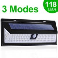 Luz Solar LED 118, lámpara Solar para exteriores, Sensor de movimiento, foco con energía Solar, 3 modos, luz Solar de pared para decoración de calle y jardín