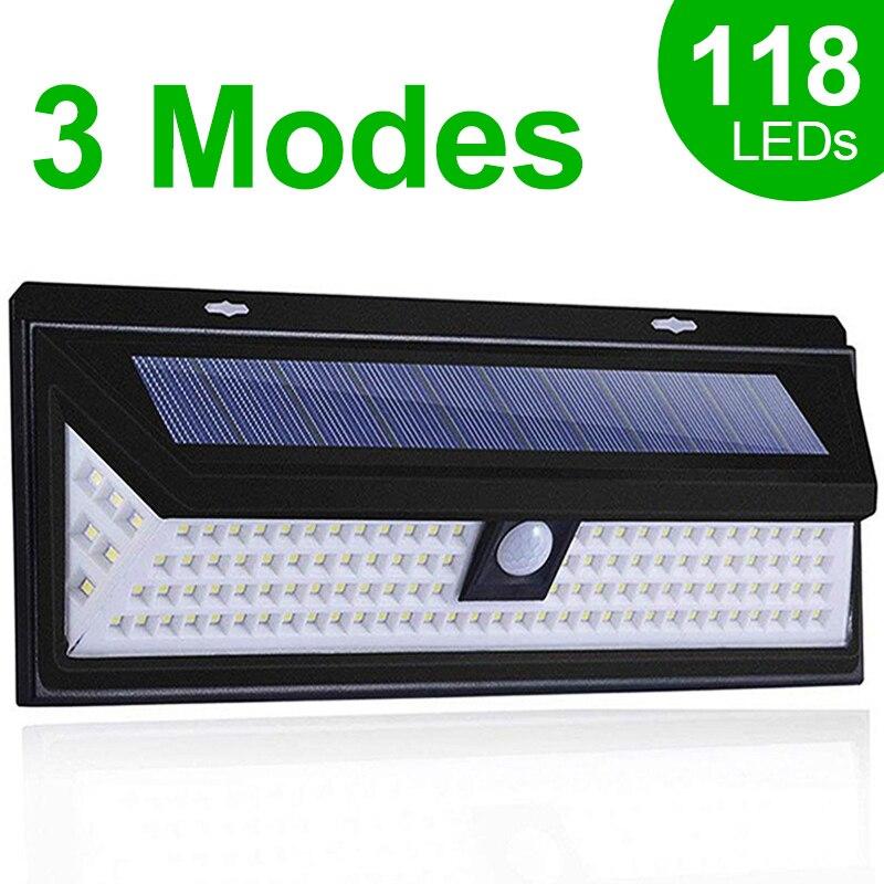 118 LED שמש אור חיצוני שמש מנורת חיישן תנועת שמש מופעל זרקור 3 מצבי קיר אור שמש לרחוב גן קישוט