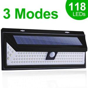 118 LED Solar Light Outdoor Solar Lamp Motion Sensor Solar Powered Spotlight 3 Modes Wall Sunlight For Street Garden Decoration(China)