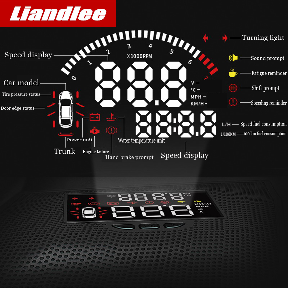Liandlee Car Head Up Display HUD For Mazda Atenza every year Digital Projector Screen Mileage Fuel Consumption Detector in Head up Display from Automobiles Motorcycles