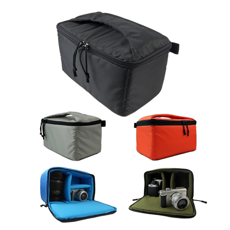 Portable SLR Camera Insert Bag Inner Partition Padded Protector Bag For DSLR SLR Black Insert Case Waterproof Zipper Camera Bag