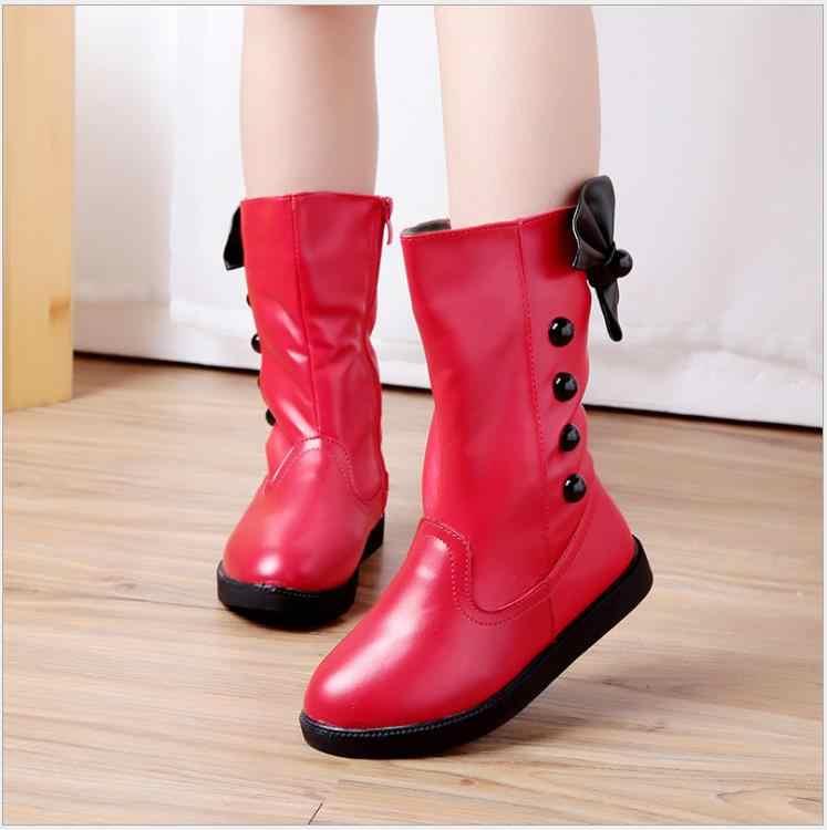 Zima dzieci wysokiej nóg buty księżniczka pluszowe buty ocieplane dziewczyny śnieg Bowtie czerwone buty rozmiar ue 26-36
