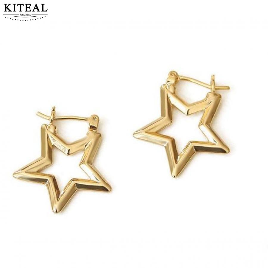 KITEAL Gorgeous silver plated Girlfriend stud earrings Hollowed out stars and moons women earrings jewelry