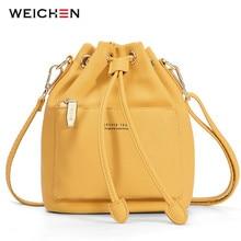 Weichen moda balde bolsa de ombro feminina cordão crossbody bolsa feminina mensageiro sacos senhoras bolsa de couro sintético sac