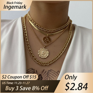 Punk Miami Cuban Choker Necklace Steampunk Men Jewelry Vintage Big Coin Pendant Chunky Chain Necklace for Women Neck Accessories