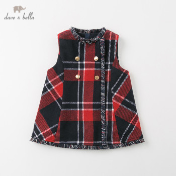 DB12364-2 dave bella winter baby girl's princess plaid button vest dress children fashion party dress kids infant lolita clothes image