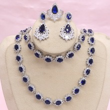 925 Silver Jewelry Sets For Women Blue Semi-precious Earrings Bracelet