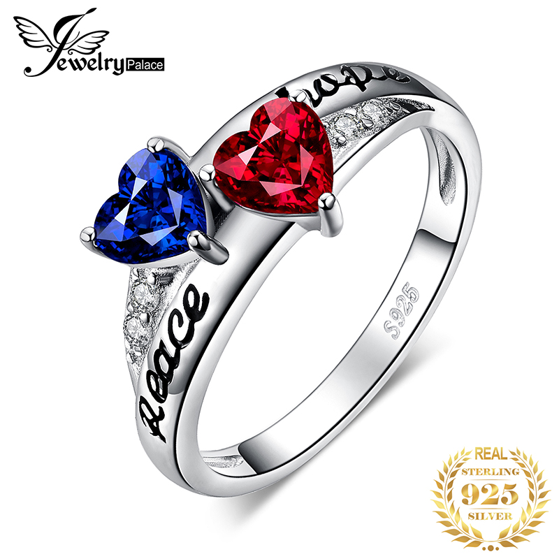 JewelryPalace Heart Love Created Ruby Sapphire Ring 925 Sterling Silver Rings For Women Promise Ring Silver 925 Jewelry