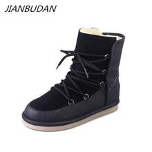 JIANBUDAN Warm snow boots Womens casual winter cotton shoes Lace-Up Flat plush New product 35-40 size