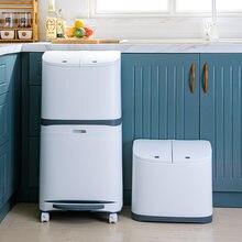 Novo conveniente balde de lixo sortido lixo bin com roda de plástico cozinha lixo pode canto reciclar bin imprensa balde de armazenamento aberto