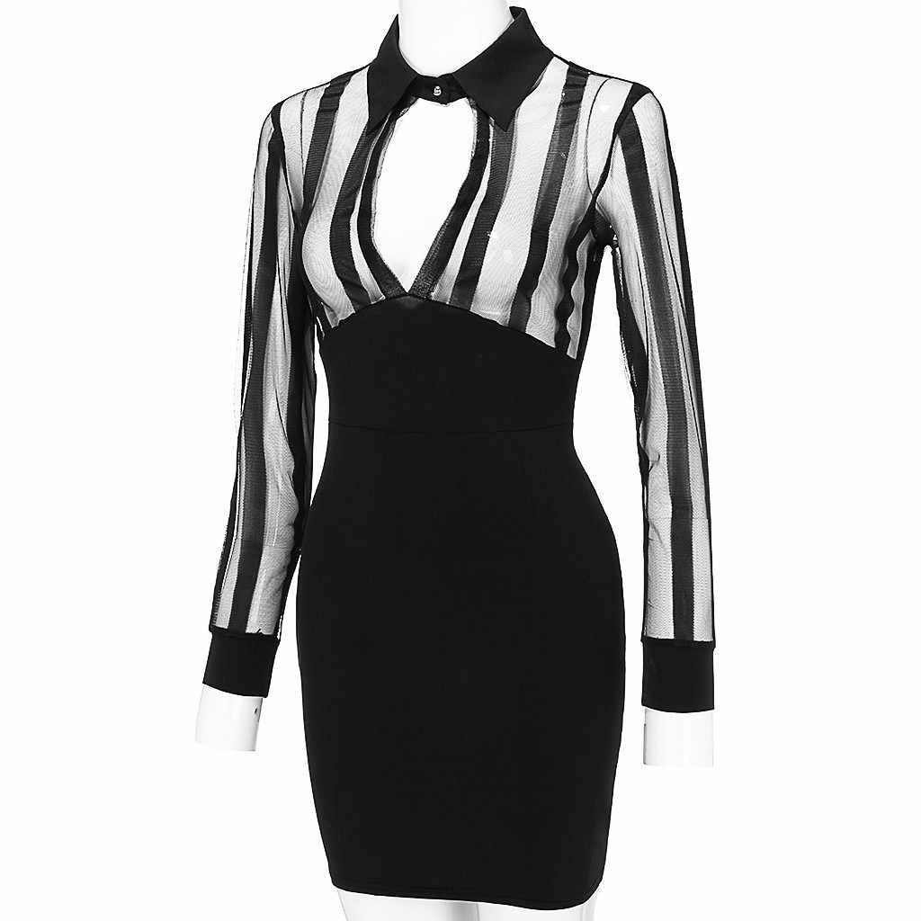 ファッション女性ドレス長袖黒メッシュシアースパッチワークボディコンセクシーなクラブウェアミニドレス女性 Vestido