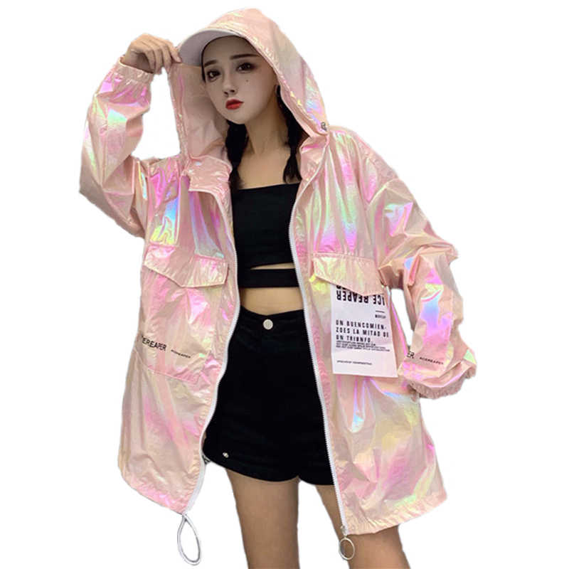 Outono com capuz bombardeiro jaqueta feminina solta prata verão fino jaqueta feminina fluorescência hip hop casaco plus size streetwear holograma