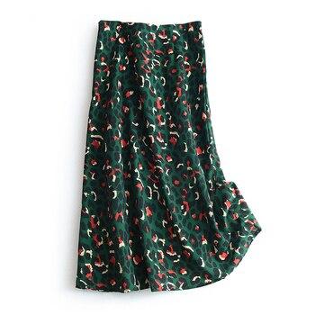 2020 Colorful Leopard Print Long Skirt Fashion Women Ladies Green High Waist Split A-line Maxi Skirt Female 2