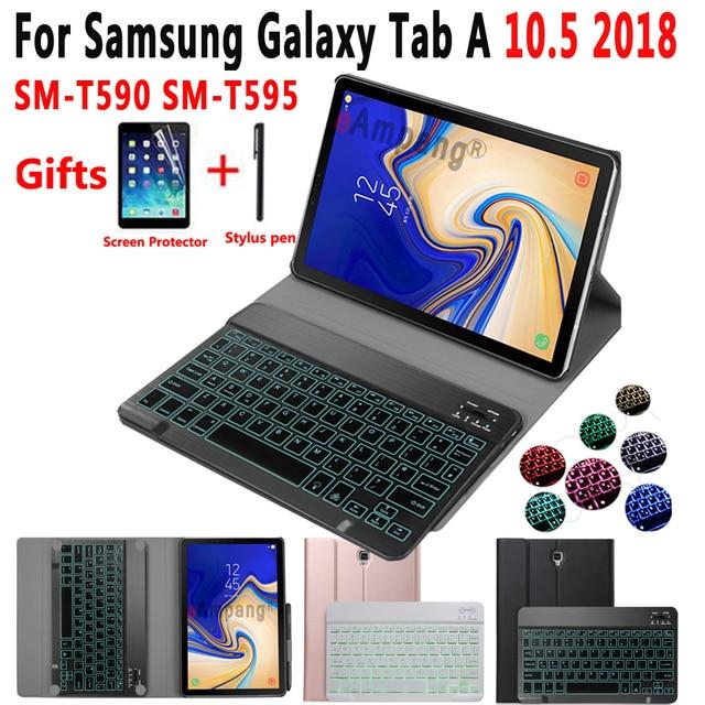 Светлая клавиатура с подсветкой чехол для Samsung Galaxy Tab A 10,5 2018 SM-T590 SM-T595 T590 T595 планшет кожаный чехол Bluetooth клавиатура