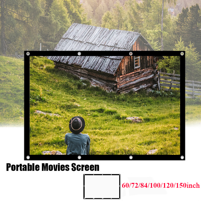 Projection <font><b>Screen</b></font> 16:9 HD Portable Foldable Anti-crease <font><b>Projector</b></font> Widescreen For Home Theater Outdoor 60/72/84/100/120/<font><b>150</b></font> <font><b>inch</b></font> image