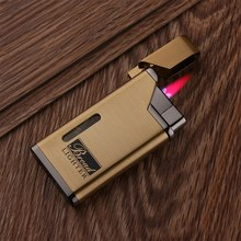 Creative Metal Body Ultra-thin Personality Butane Gas Lighter High Temperature Red Flame Windproof Inflatable Cigarette