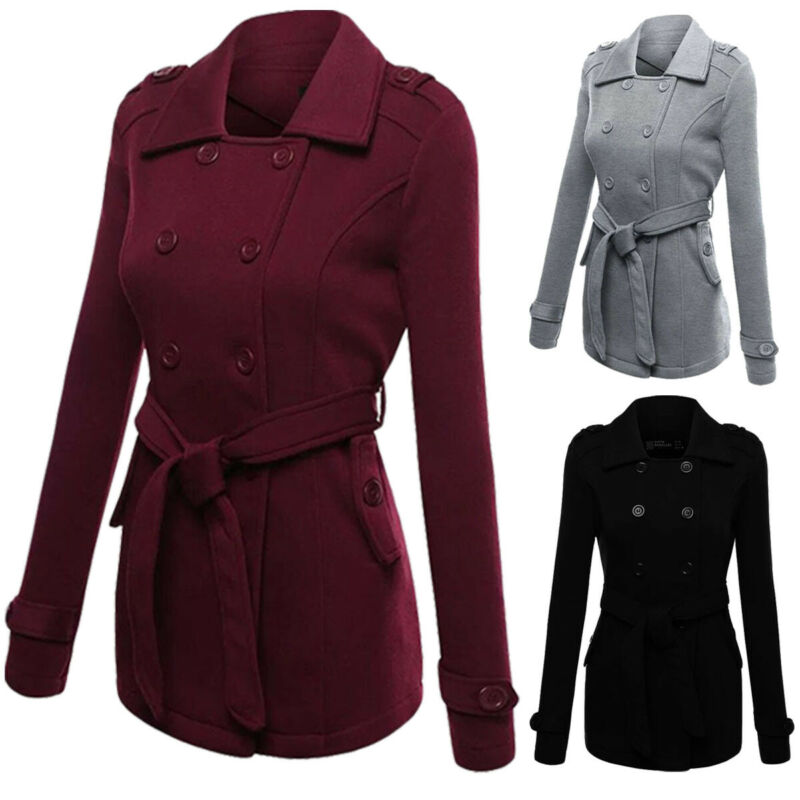 2019 New Women Winter Long Peacoat Coat Trench Outwear Coat Ladies Double-breasted Slim Fit Trench Mujer Plus Size S-2XL