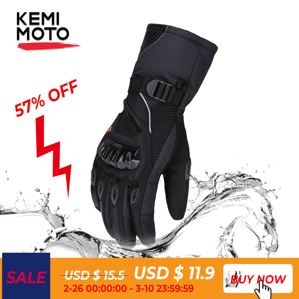 KEMiMOTO 2019 NEW Motorcycle Gloves Winter Black Guantes Moto Invierno Warm Touch Screen Waterproof Windproof Gloves Protective
