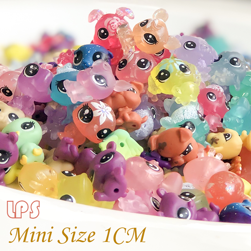 Mini 1CM LPS Pet Shop Snowflake Transparency Limit Collection Figure Collie Dog Cat  Animals Loose Cute Kid Toys Figure Gift