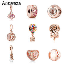 AOUVEZA New Rose Gold Series Pendant Beaded House Balloon Starfish Beads Fit Original Charms Pandora Silver 925 Bracelet Jewelry