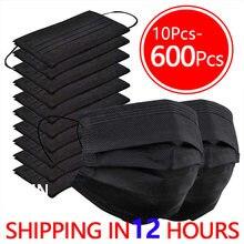 10-600 pces máscara facial descartável preto adulto máscaras nonwove 3 camada protetora boca máscara filtro anti poeira respirável máscara navio rápido