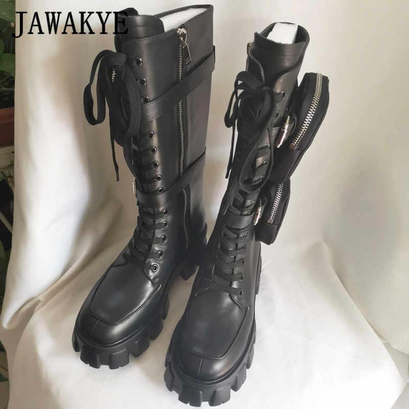 JAWAKYE sıcak dantel up cep motosiklet botları kadın kalın alt Monolith diz yüksek çizmeler kış kadın ayakkabı siyah askeri ayakkabı