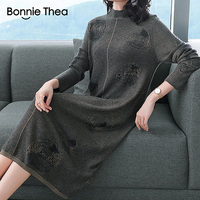 Bonnie Thea women Winter Turtleneck party knitting dress women's Autumn Elegant Sweater dress vestidos plus size lady dresses