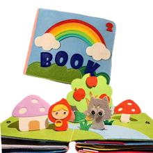 Rainbow 3D Baby Cloth Book praktyka ręka wczesna nauka edukacja cicha książka miękke zmywalne rozwiń interakcja rodzic-dziecko tanie tanio 3 lat Fabric Lovely 20 0 cm * 15 0 cm * 6 0 cm Newborn infant toys Bright color patterns 3D movable accessories Educational books for children