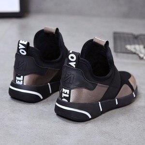 Image 4 - 2019 春の新ファッションpuレザープラットフォームスニーカー身長の増加プラットフォームスニーカー女性靴女性