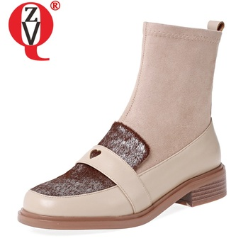ZVQ leather horse hair ankle boots fashion heart-shaped pattern 3cm heels women's shoes 2019 winter autumn stretch flock booties