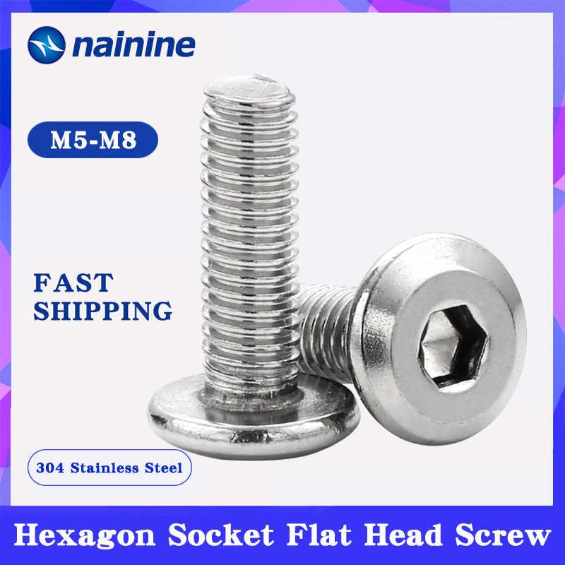 5/10Pcs M5 M6 M8 304 נירוסטה יתר שטוח ראש Hex כונן בורג למטה צד ריהוט ברגים HW035