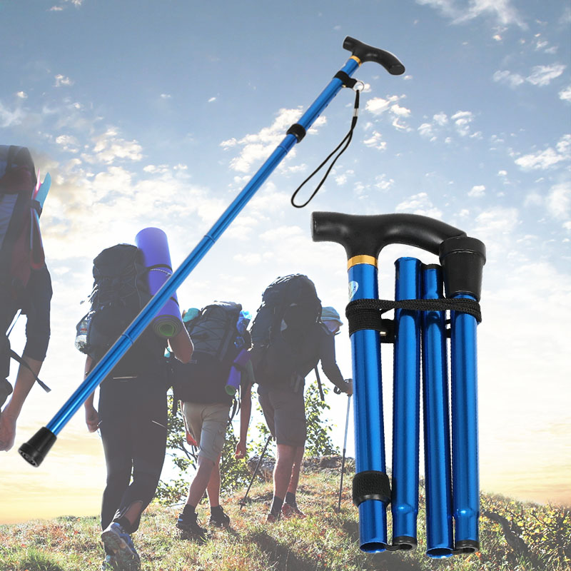 Walking Stick Hiking Trekking Ultralight 4 Sections Adjustable Canes Aluminum Alloy Folding Sticks SAL99|Outdoor Tools| |  - title=