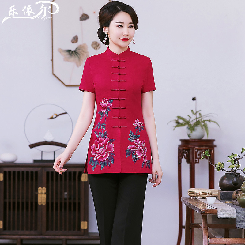 Summer Short-sleeved Cotton Linen Chinese Costume Cheongsam Tops Women's Mid-length Hand-Painted Improved Fashion Middle-aged Wo