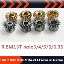 New product bevel gear bevel gear 0.8model 15teeth hole3/4/5/6/6.35mm 90 transmission diy copper steel stainless steel