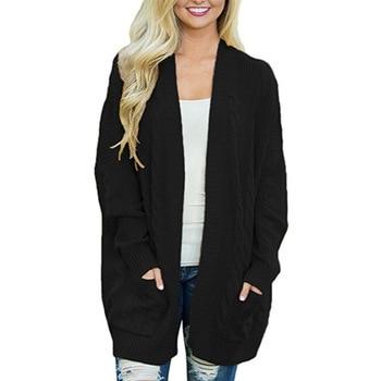 цена cardigan women long 2020 Sweater women cardigan mujer plus size cardigan feminino loose mid-length pocket knit cardigan oversize онлайн в 2017 году